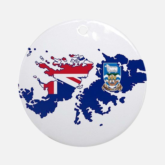 Falkland Islands Silhouette Flag Ma Round Ornament