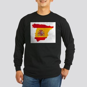 Silhouette Flag Map Of Spain Long Sleeve T-Shirt