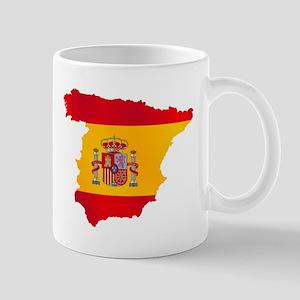 Silhouette Flag Map Of Spain Mugs