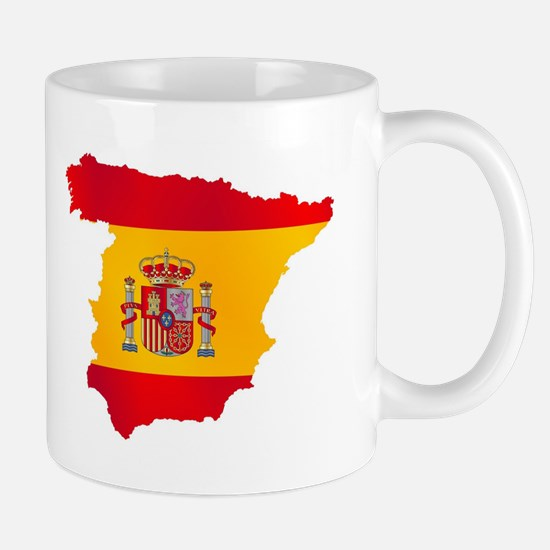Silhouette Flag Map Of Spain Mugs