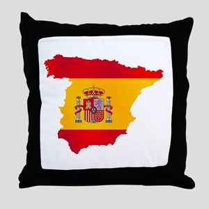 Silhouette Flag Map Of Spain Throw Pillow