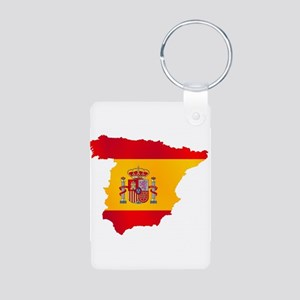 Silhouette Flag Map Of Spain Keychains
