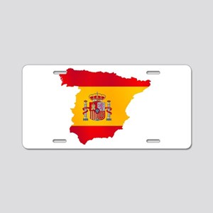 Silhouette Flag Map Of Spai Aluminum License Plate