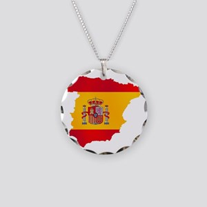 Silhouette Flag Map Of Spain Necklace Circle Charm
