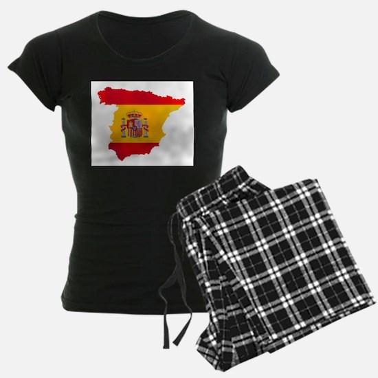 Silhouette Flag Map Of Spain Pajamas