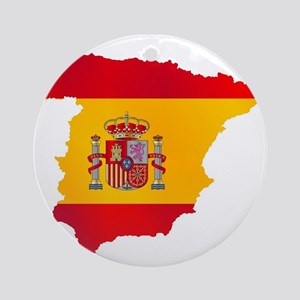 Silhouette Flag Map Of Spain Round Ornament