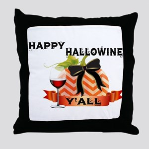 Happy Hallowine Y'all Throw Pillow