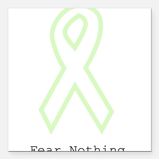 """Mint Green Outline: Fear Square Car Magnet 3"""" x 3"""""""