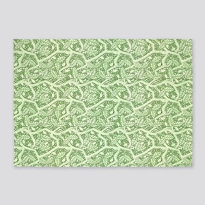 Green Leaves 5'x7'Area Rug