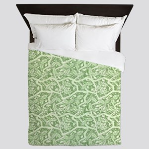 Green Leaves Queen Duvet