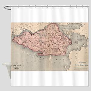 Vintage Map of Staten Island New Yo Shower Curtain