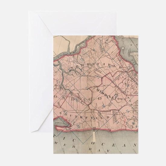 Vintage Map of Staten Island New Yo Greeting Cards