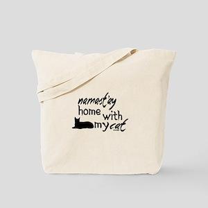 Namast'ay Home with My Cat Tote Bag
