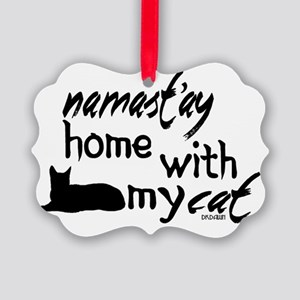 Namast'ay Home with My Cat Picture Ornament
