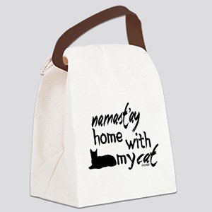 Namast'ay Home with My Cat Canvas Lunch Bag