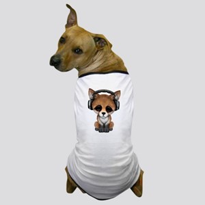 Cute Red Fox Cub Dj Wearing Headphones Dog T-Shirt