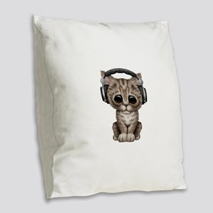 Cute Kitten Dj Wearing Headphones Burlap Throw Pil