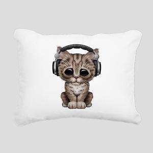 Cute Kitten Dj Wearing Headphones Rectangular Canv