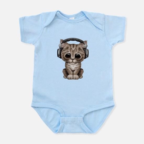 Cute Kitten Dj Wearing Headphones Body Suit