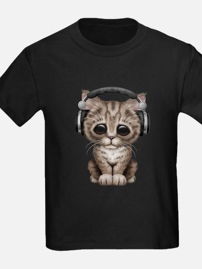 Cute Kitten Dj Wearing Headphones T-Shirt