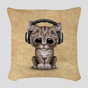 Cute Kitten Dj Wearing Headphones Woven Throw Pill