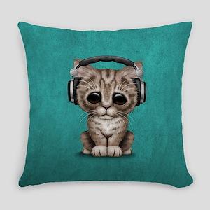Cute Kitten Dj Wearing Headphones Everyday Pillow