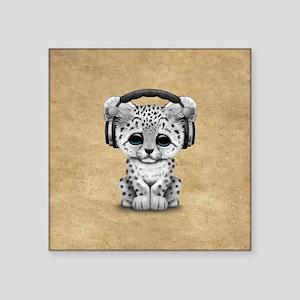 Cute Snow Leopard Cub Dj Wearing Headphones Sticke