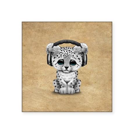 Beau Cute Snow Leopard Cub Dj Wearing Headphones Sticke