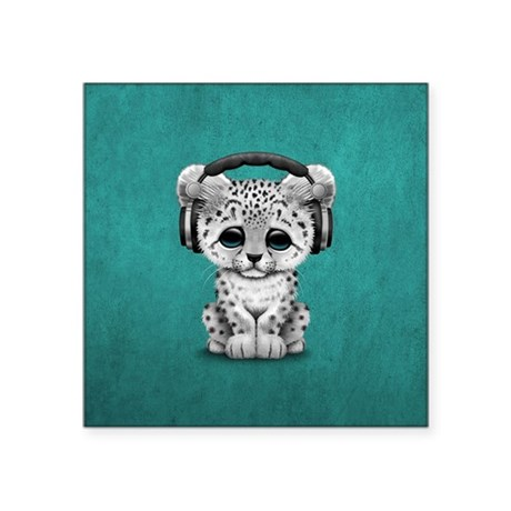 Charmant Cute Snow Leopard Cub Dj Wearing Headphones Sticke