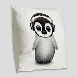 Baby Penguin Dj Wearing Headphones Burlap Throw Pi