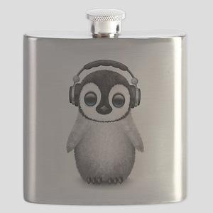 Baby Penguin Dj Wearing Headphones Flask