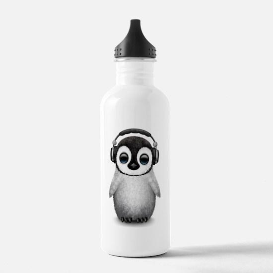 Baby Penguin Dj Wearing Headphones Water Bottle