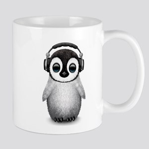 Baby Penguin Dj Wearing Headphones Mugs