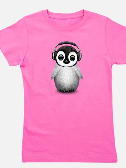 Baby Penguin Dj Wearing Headphones Girl's Tee