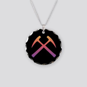 Crossed Rock Hammers Necklace Circle Charm
