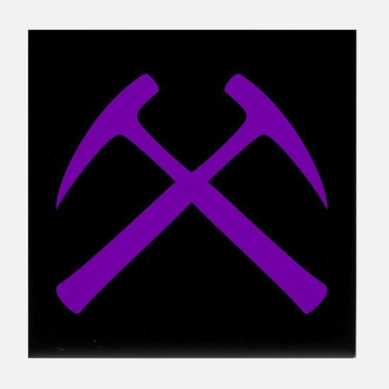 Purple Crossed Rock Hammers Tile Coaster
