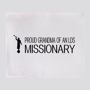 LDS: Proud Missionary Grandma (White Throw Blanket