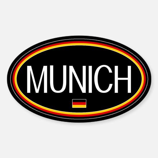 Germany: Munich Oval (Black) Sticker (Oval)
