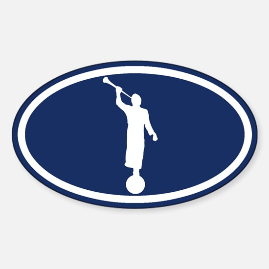 LDS: The Angel Moroni (Blue) Sticker (Oval)