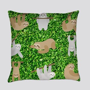 funny sloths Everyday Pillow