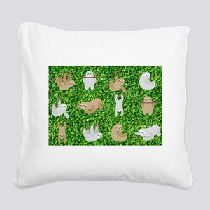 funny sloths Square Canvas Pillow