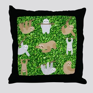 funny sloths Throw Pillow