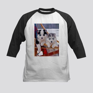 Husky Puppies in sled Baseball Jersey