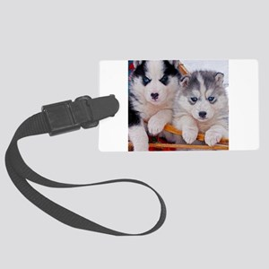 Husky Puppies in sled Large Luggage Tag