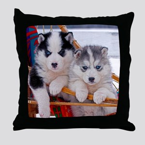 Husky Puppies in sled Throw Pillow