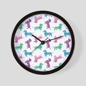 Raining Dachshunds Wall Clock