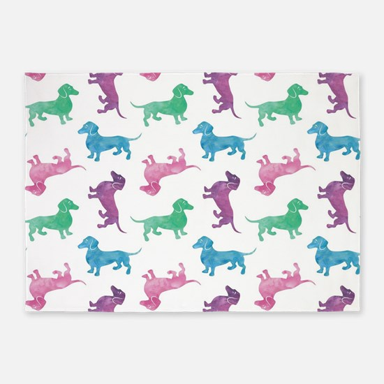 Raining Dachshunds 5'x7'Area Rug