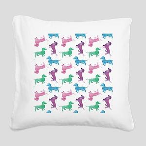 Raining Dachshunds Square Canvas Pillow