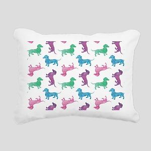 Raining Dachshunds Rectangular Canvas Pillow