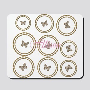 Cute Gold Butterfly Pattern Add Name Mousepad